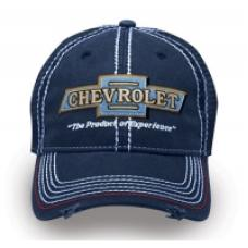 Chevy Cap, Frayed Navy/Mesh Vintage Hat with Classic Bowtie