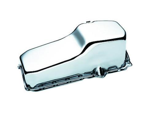Chrome Plated Engine Oil Pan, Small Block, 283-350, 1986-2002