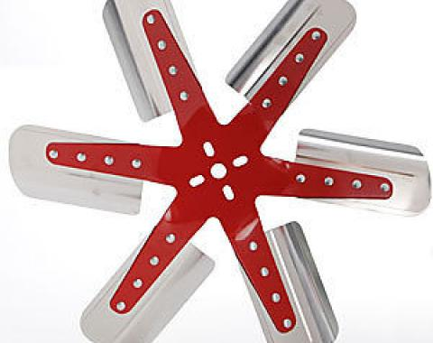 """Flex-a-lite 18"""" Stainless Standard Rotation Cooling Fan, Red"""