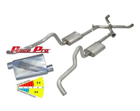 """Chevy Wagon Pypes Dual Exhaust System, 2.5"""", Race Pro Mufflers, Crossmember Back W/X-Change, 1955-1957"""