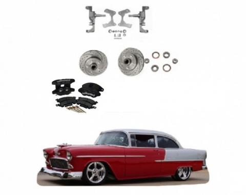 """Chevy 2"""" Drop Spindles With Drilled & Slotted Rotors & Black Powder Coated Dual Piston Wilwood Brake Calipers, 1955-1957"""