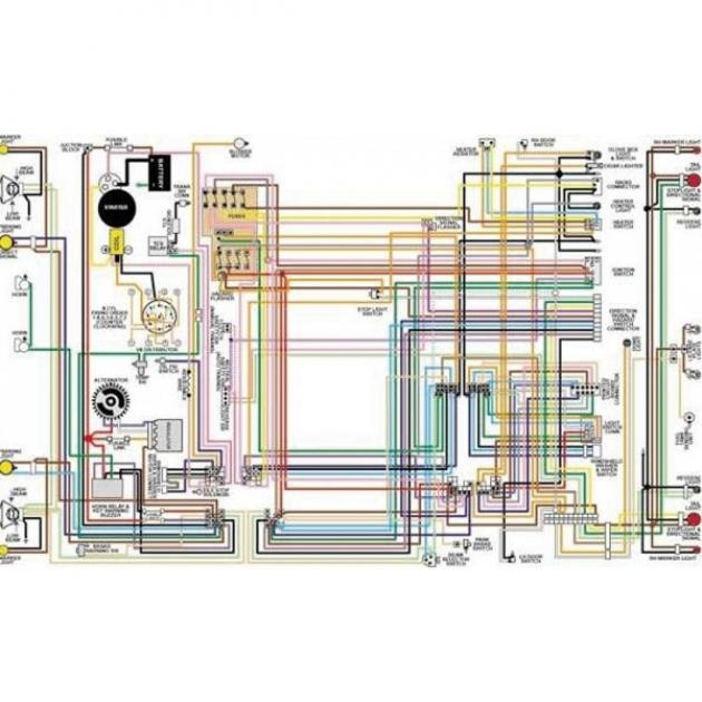 Chevy Color Laminated Wiring Diagram  1955
