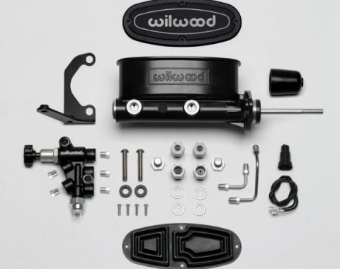 "Chevy Wilwood Master Cylinder Kit, Tandem, Black Electrocoated Aluminum, with Bracket & Valve, 7/8"" Bore 1955-1957"