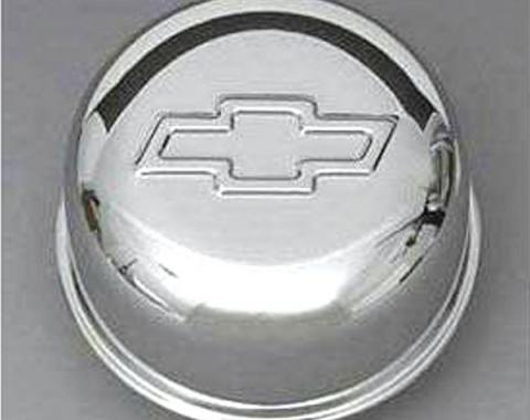 Full Size Chevy Intake Oil Fill Tube Breather Cap, Chrome Push-In, With Bowtie Logo, 1958-1972