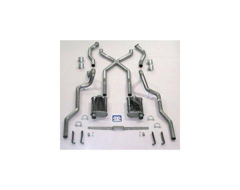 """Chevy SCR """"X"""" Turbo Dual 2-1/2"""" Exhaust System, Use With LS1, LS2, LS3 Or LS6 Engine, Stainless Steel, Non-Wagon, 1955-1957"""