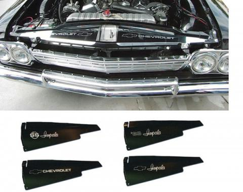 Full Size Chevy Core Support Filler Panels, Clear Anodized (Silver Satin), With Logo/Design, 1963