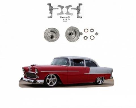 """Chevy 2"""" Drop Spindles With Drilled & Slotted Rotors, 1955-1957"""