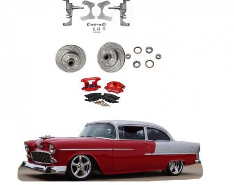 """Chevy 2"""" Drop Spindles With Drilled & Slotted Rotors & Red Powder Coated Dual Piston Wilwood Brake Calipers, 1955-1957"""