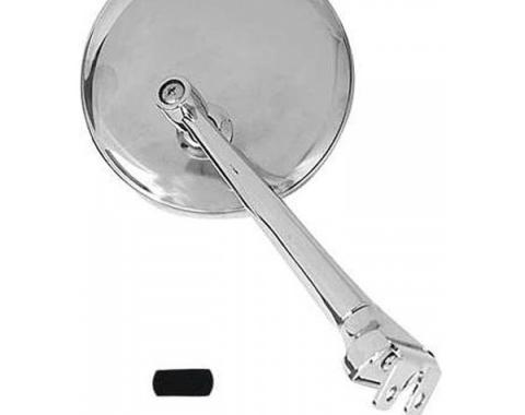 Chevy Outside Rear View Mirror, 3 Peep With Straight Arm, Polished Stainless Steel, 1949-1954