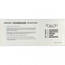 55-57 Sunvisor Instruction Sleeve Powerglide Transmission