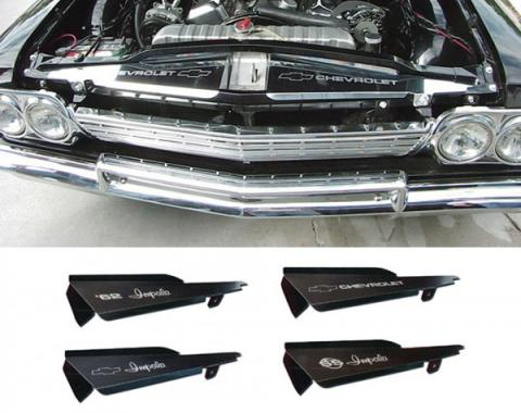 Full Size Chevy Core Support Filler Panels, Polished, With Logo/Design, 1962