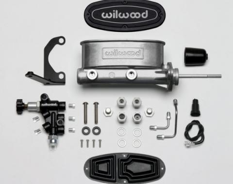 "Chevy Wilwood Master Cylinder Kit,  Bare Aluminum Tandem, with Bracket & Valve, 7/8"" Bore, 1955-1957"