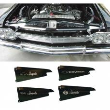 Full Size Chevy Core Support Filler Panels, Clear Anodized (Silver Satin), With Logo/Design, 1964