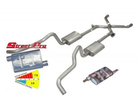 "Chevy WagonPypes Dual Exhaust System, 2.5"", Race Pro Mufflers, Crossmember Back W/X-Change, 1955-1957"