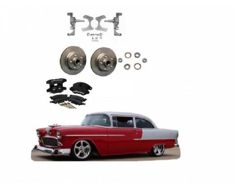 """Chevy 2"""" Drop Spindles With Rotors & Black Powder Coated Dual Piston Wilwood Brake Calipers, 1955-1957"""