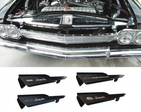 Full Size Chevy Core Support Filler Panels, Clear Anodized (Silver Satin), With Logo/Design, 1962