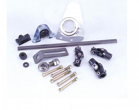 Flaiming River 1955-56 Chevy Manual Rack & Pinion Cradle Kit - Polished Floor Shift Tilt Column