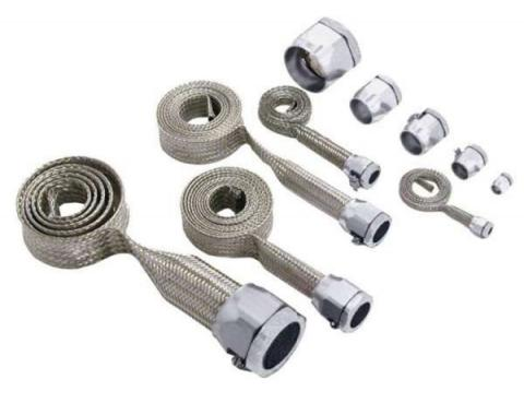 Chevy Hose Cover Kit, Universal, Stainless Steel, With Chrome Clamps