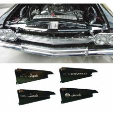 Full Size Chevy Core Support Filler Panels, Black Anodized,With Logo/Design, 1964