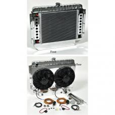 Full Size Chevy Aluminum Radiator, Polished Knockout HP Series, Complete Kit, Griffin, 1959-1964
