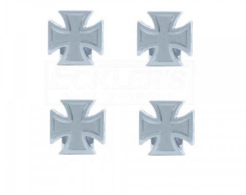 Early Chevy Maltese Cross Valve Stem Caps, 1949-1954