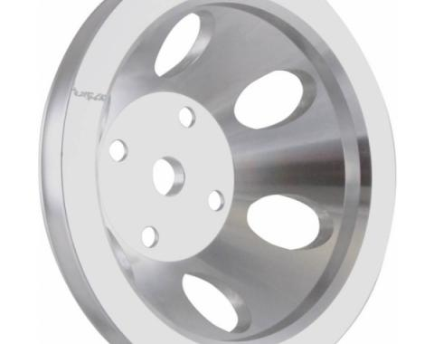Chevy Small Block Aluminum Water Pump Pulley, Long Water Pump, 1 Groove