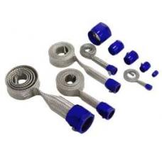 Chevy Hose Cover Kit, Stainless Steel, Universal, With Blue Clamps 1955-1957