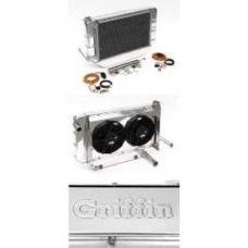 Chevy Cross-Flow Radiator Kit, Polished Aluminum, Complete,LT1, Griffin, 1955-1957