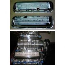Chevy Aluminum Valve Covers, Polished, With Chevrolet Script, Big Block, 1955-1957