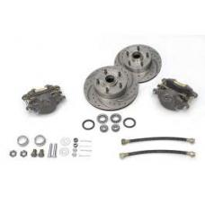 Chevy Front Disc Brake Kit, Spindle, For Dropped Spindles, With Drilled & Sweep Slotted Rotors, 1955-1957