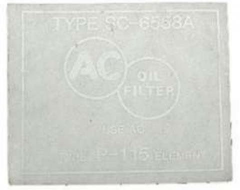 Chevy Oil Filter Canister Decal, For Cars With Factory Air Conditioning, Small Block, 1955
