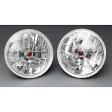Chevy Headlights, Tri-Bar H-4 Halogen, Red Dot, 1955-1957