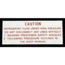 Chevy Factory Air Conditioning Compressor Refrigerant Warning Decal, 1955-1957