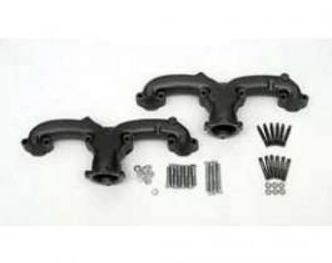 Chevy Exhaust Manifolds, 2-1, 2 Rams Horns, Uncoated, High Performance, Small Block, V8, 1955-1957