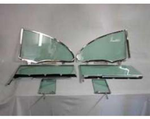 Chevy Side Glass Set Installed With Frames, Date Coded, Tinted, 2-Door Hardtop, 1955-1957