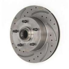 Chevy Front Disc Brake Rotor, Drilled, Slotted & Vented, Left, 1955-1957