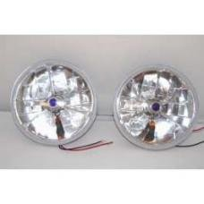 Chevy Headlights, Blue Dot Tri-Bar H-4 Halogen With Turn Signals, 1955-1957