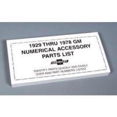 GM Numerical Accessory Parts List,1929 Thru 1978