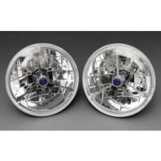 Chevy Headlights, Tri-Bar H-4 Halogen, Blue Dot, 1955-1957