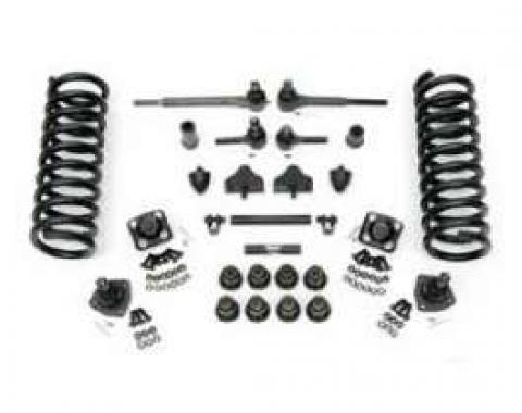 Chevy Front End Rebuild Kit With Original Power Steering, Urethane Bushings & 2 Lowering Springs, 1955-1957