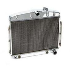 Chevy Radiator, Polished Aluminum, 6-Cylinder Position, Griffin HP Series, 1955-1956