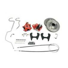 Chevy Rear Disc Brake Kit, With Red Powder Coated Calipers,1955-1957