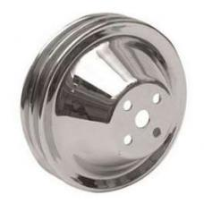 Chevy Water Pump Pulley, Double Groove, Chrome, Small Block, 1955-1957