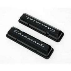 Chevy Aluminum Valve Covers, Black Powder Coated, With Chevrolet Script, Small Block, 1955-1957