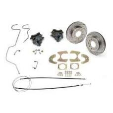 Chevy Disc Brake Kit, Rear, For 9 Ford Rear End, With Drilled & Sweep Slotted Rotors, 1955-1957