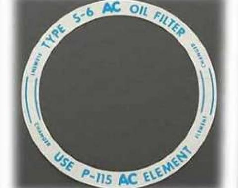 Chevy Oil Filter Canister Lid Decal, 1955 V8 & 1955-1957 6-Cylinder
