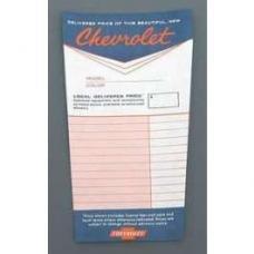 1955-64 Dealer Installed Options Window Sticker