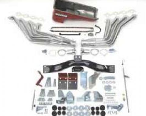 Chevy Big Block Mark IV Installation Kit, Deluxe, Manual Transmission, With Silver Ceramic Coated Headers, 1955-1957