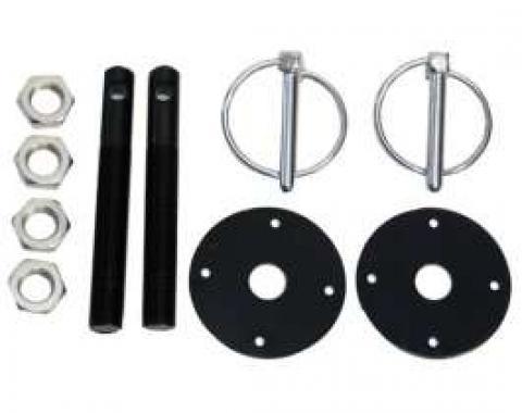 Aluminum Hood Pin Kit, Black