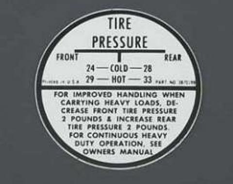 Chevy Tire Inflation Glove Box Decal, 1955-1957